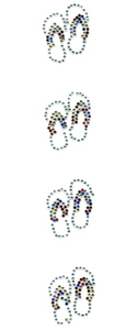 Crystal Flip Flops (Set of 4) - Iron-on SnappyBling