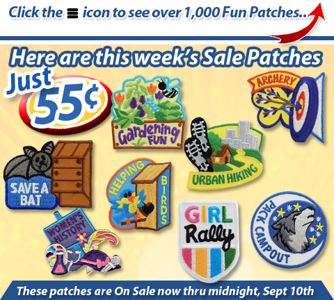 Over 1,000 Stock Fun Patches with age appropriate themes at