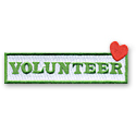 Volunteer with Heart Tab w/ Sticky Backing