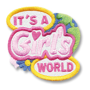 It's a Girl's World Party Girl Scout Fun Patch